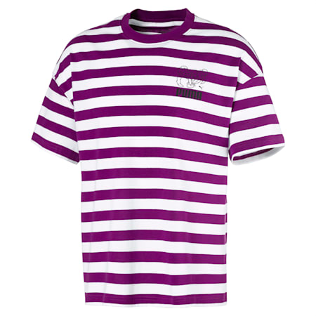 Breton Stripes Boxy Herren T-Shirt, Grape Juice-Puma White, small