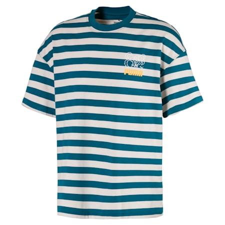 Breton Stripes Boxy Herren T-Shirt, Blue Coral-Dove, small