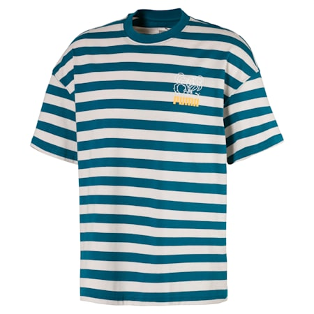 Breton Stripes Boxy T-shirt voor heren, Blue Coral-Dove, small