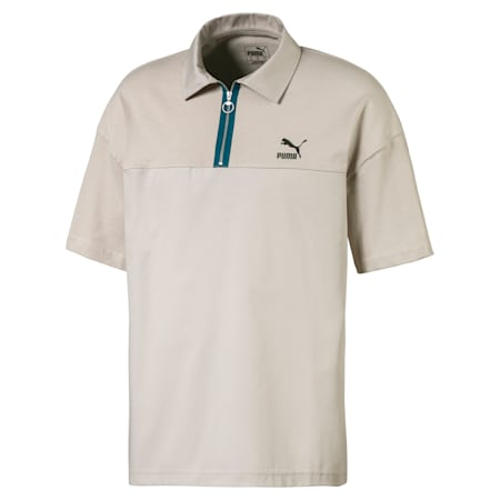 Boxy poloshirt voor heren, Dove, small