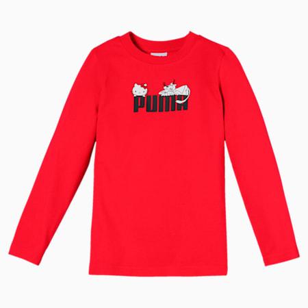 PUMA x HELLO KITTY Long Sleeve Girls' Tee, Puma Red, small-SEA