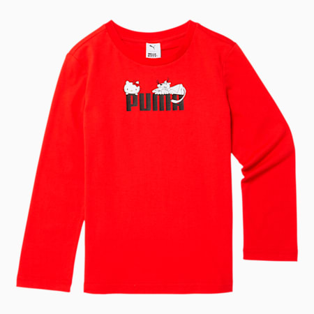 PUMA x HELLO KITTY Girls' Long Sleeve Tee JR, Flame Scarlet, small