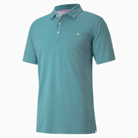 Signature Pocket Men's Golf Polo Shirt, Stone Blue, small-IND