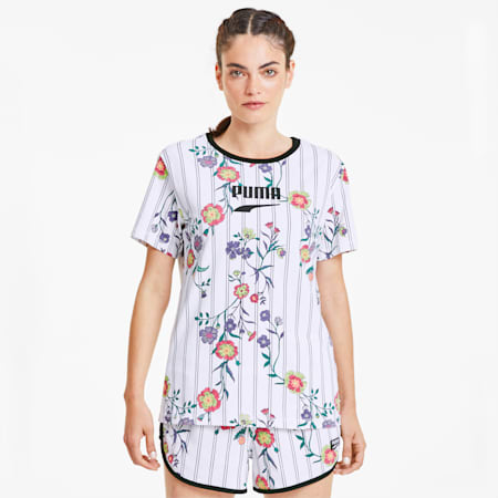 Downtown ウィメンズ AOP Tシャツ 半袖, Puma White, small-JPN