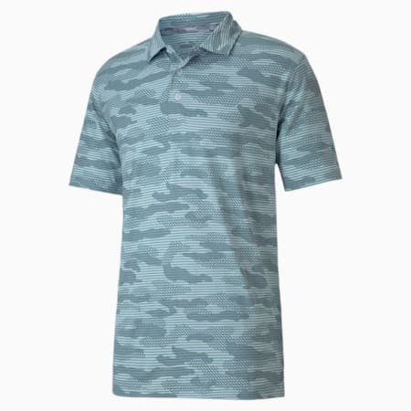 CLOUDSPUN Camo Men's Golf Polo Shirt, Milky Blue, small-IND