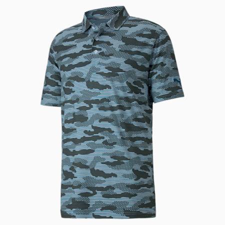 CLOUDSPUN Camo Men's Golf Polo Shirt, Digi-blue, small-IND