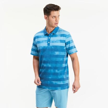 Camo Stripe Herren Golf Polo, Digi-blue, small
