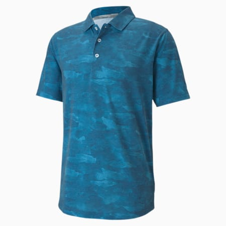 Solarised Camo dryCELL Men's Golf Polo Shirt, Digi-blue, small-IND