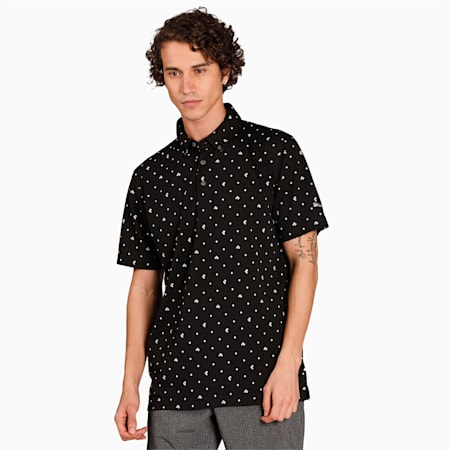 Camiseta tipo polo de piqué P para hombre, Puma Black, pequeño