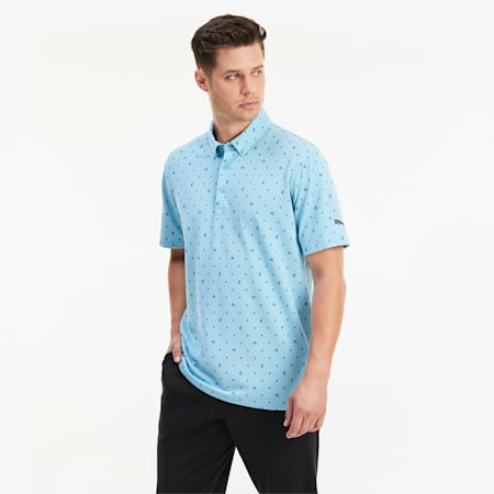 Piqué P Men's Golf Polo, Milky Blue, small