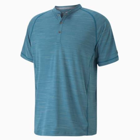 CLOUDSPUN Henley Men's Golf Tee, Digi-blue, small