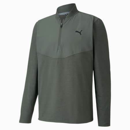 CLOUDSPUN Stealth Quarter-Zip Men's Golf Sweater, Thyme Heather, small-IND