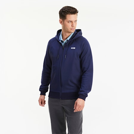 Męska rozpinana bluza z kapturem Runway Golf, Peacoat Heather, small