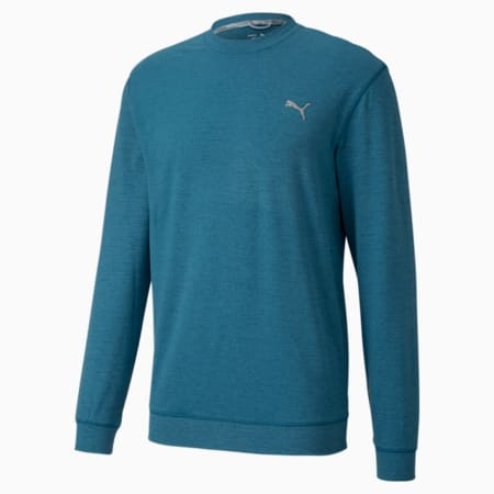CLOUDSPUN Crew Neck Men's Golf Sweater, Digi-blue Heather, small-IND