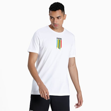 T-Shirt TFS Graphic homme, Puma White-gold, small