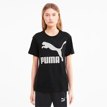 Classics Logo T-shirt voor dames, Puma Black, small