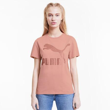 Classics Logo T-shirt voor dames, Bridal Rose-glitter, small