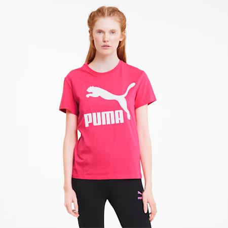 Classics Logo Damen T-Shirt, Glowing Pink, small