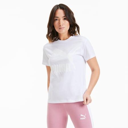 Classics Logo Damen T-Shirt, Puma White-glitter, small