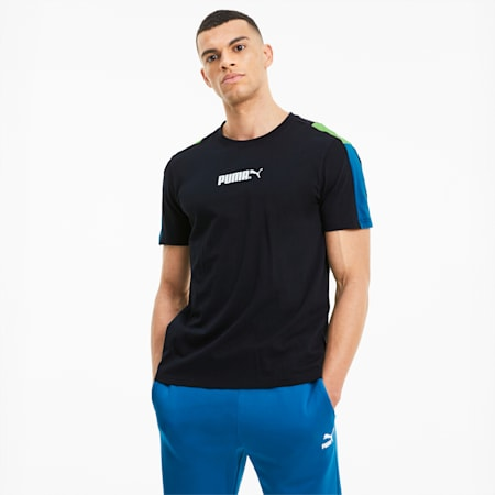 TFS Men's Crew Neck T-Shirt, Puma Black-Digi-blue, small-IND