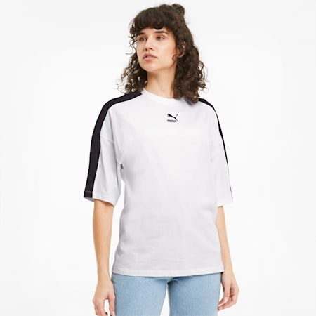 Classics T7 Loose Fit T-shirt voor dames, Puma White, small