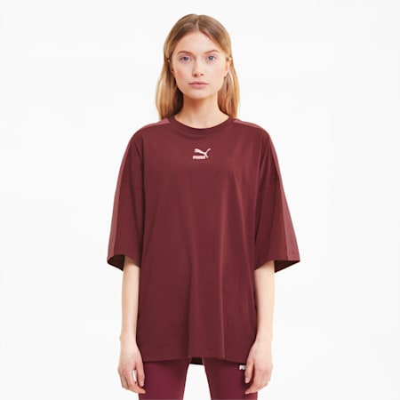 Classics T7 Women's Loose Fit Tee, Burgundy, small