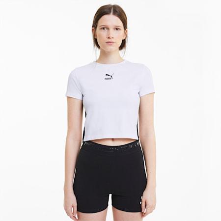 Classics Cropped Damen Kurzarm-Shirt, Puma White, small