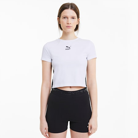 Classics Cropped Short Sleeve damesshirt, Puma White, small