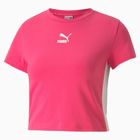 Classics Cropped Short Sleeve Women's Tee, Glowing Pink, small