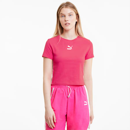 Classics Cropped Damen Kurzarm-Shirt, Glowing Pink, small