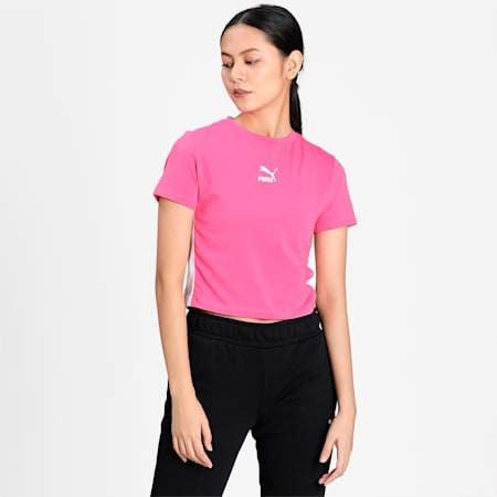 Classics Cropped Short Sleeve Women's T-Shirt, Glowing Pink, small-IND