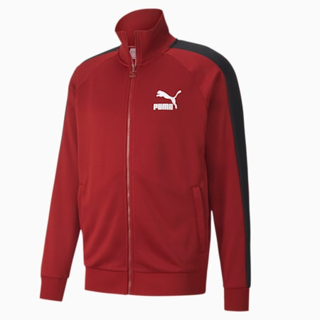 Iconic T7 Full Zip Men's Track Jacket, Red Dahlia, small