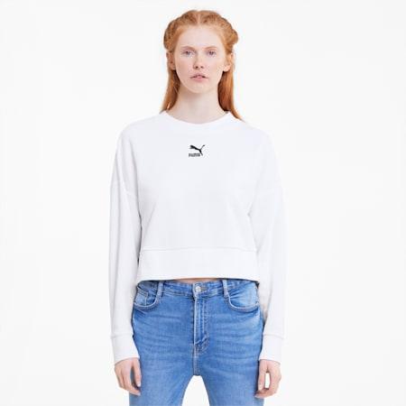 Classics Women's Cropped Crewneck Sweatshirt, Puma White, small