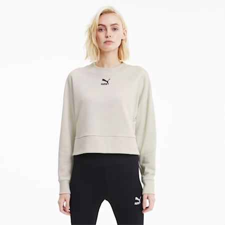 Classics Women's Cropped Crewneck Sweatshirt, Vaporous Gray, small