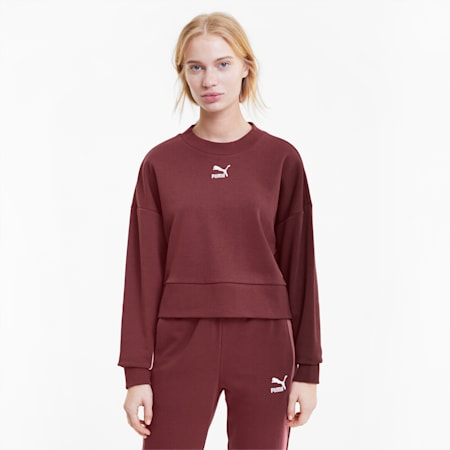 Classics Cropped Women's Sweater, Burgundy, small