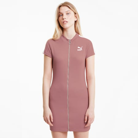 Classics Tight Ribbed Women's Dress, Foxglove, small-IND