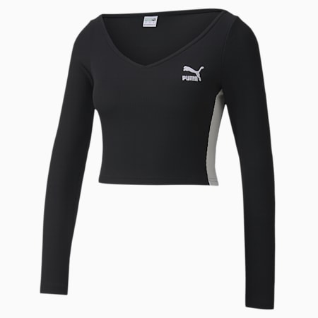 Classics Ribbed Cropped Women's Top, Puma Black, small