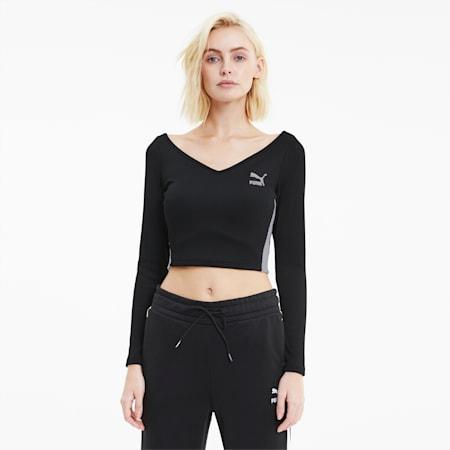 클래식 크롭 티셔츠/Classics Ribbed Cropped Top, Puma Black, small-KOR