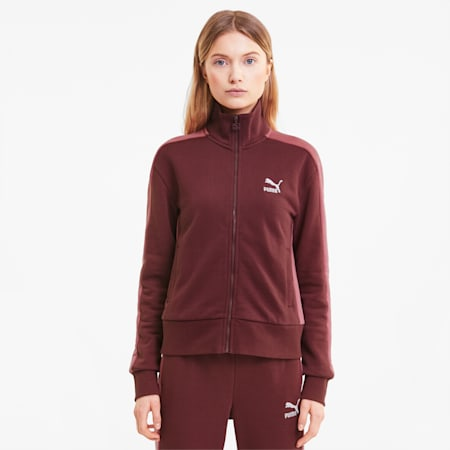Track jacket da donna Iconic T7, Burgundy, small
