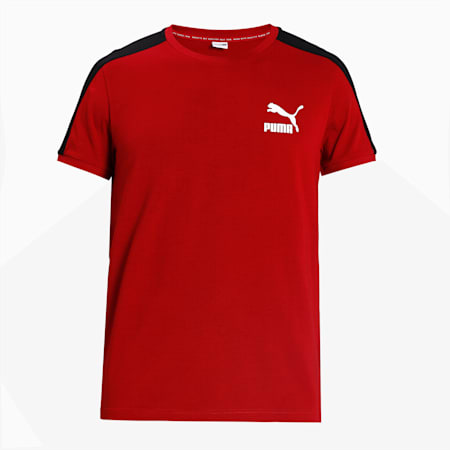 Iconic T7 Slim Men's T-Shirt, Red Dahlia, small-IND