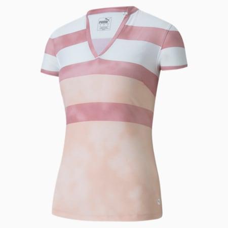 Dye Stripe Women's Golf Polo Shirt, Peachskin, small-SEA