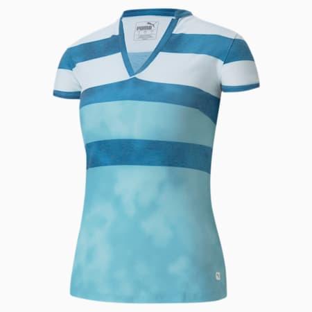 Dye Stripe Women's Golf Polo Shirt, Milky Blue, small-SEA