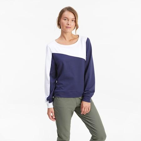CLOUDSPUN Colour Block Crew Neck Women's Golf Sweater, Peacoat, small