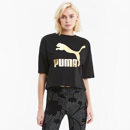 Classics Women's Loose Fit Tee, Puma Black-puma white, small