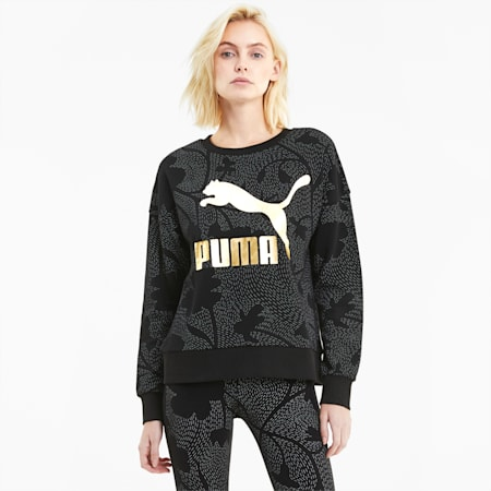 Classics Graphic Long Sleeve Women's Sweater, Puma Black, small-IND