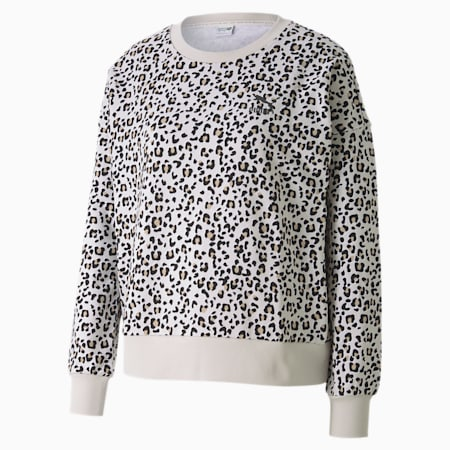 Classics Graphic Long Sleeve Women's Sweater, Vaporous Gray-Animal AOP, small-IND