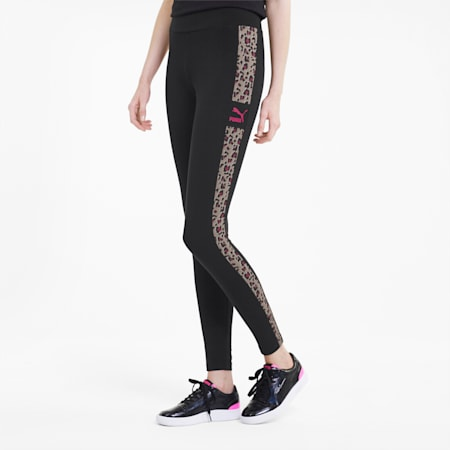 Classics Women's Graphic Leggings, Puma Black-animal, small