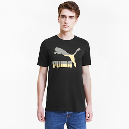 Classics Men's Logo Tee, Puma Black-gold, small