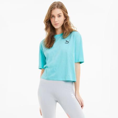 Camiseta de corte normal para mujer con gráficos TFS, ARUBA BLUE, small