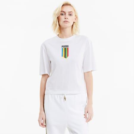 Camiseta de corte normal para mujer con gráficos TFS, Puma White-gold, small